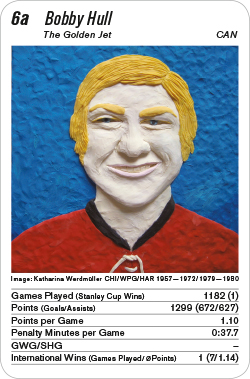 Eishockey, Volume 1, Karte 6a, CAN, Bobby Hull, Illustration: Katharina Werdmüller.