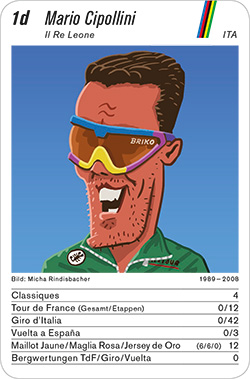 Radsport, Volume 2, Karte 1d, ITA, Mario Cipollini, Illustration: Micha Rindisbacher.