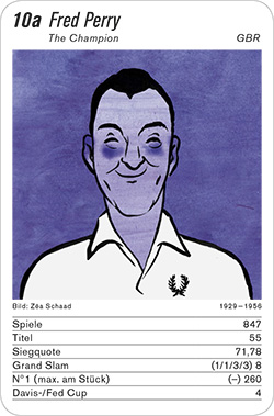 Tennis, Volume 1, Karte 10a, GBR, Fred Perry, Illustration: Zéa Schaad.